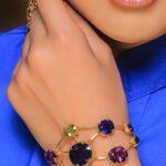 دستبند 21 مولتی جم1- طلا و جواهری حقانی
